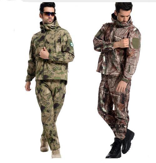 Tactical Gear Softshell Camouflage Sportswear Men Army Waterproof Warm Camo Hunt Windbreaker Sweatshirt Pant Military tracksuit