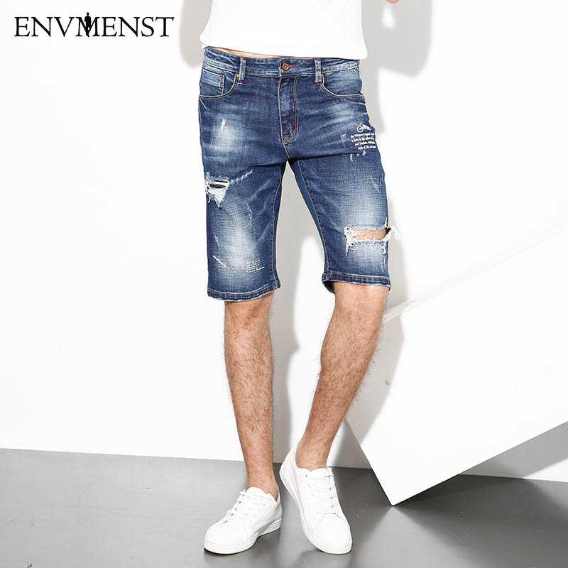 Men's Denim Shorts 2017 New Summer Regular Casual Knee Length Short Bermuda Masculina Hole Jeans Shorts For Men Street Dress цены онлайн