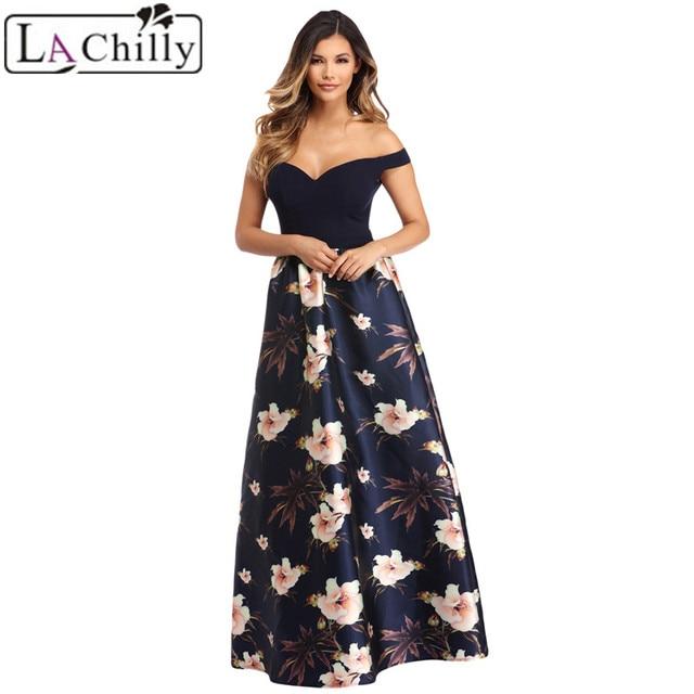 La Chilly Formal Dress Women Elegant Patchwork Summer Dresses Off