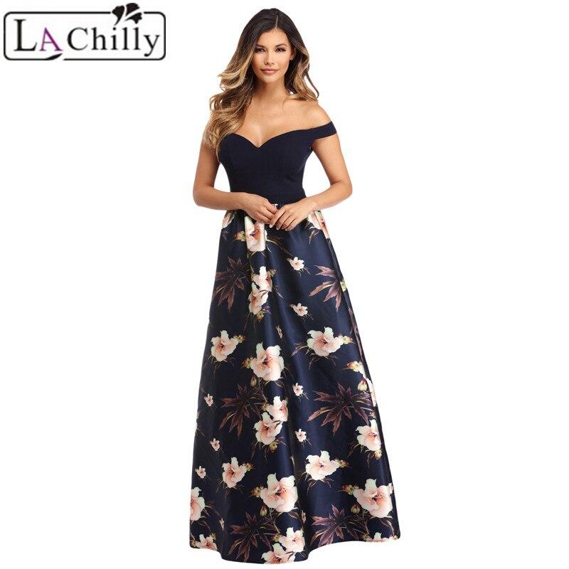 La Chilly Formal Dress Women Elegant Patchwork Summer Dresses Off Shoulder Sweetheart Neck Bodice Floral Print Gown LC610173