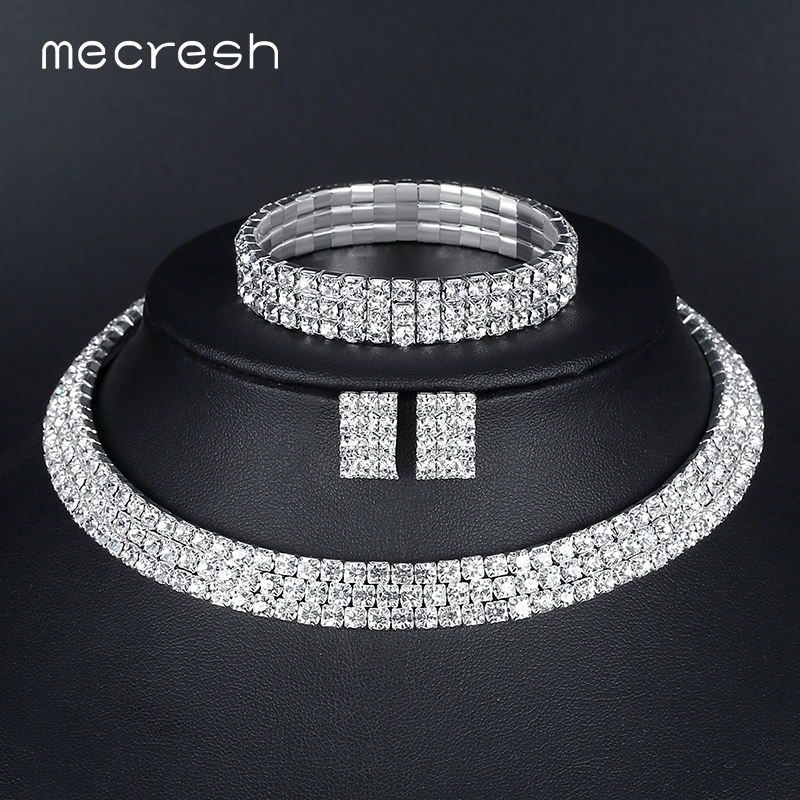 Mecresh Silver Color Circle Crystal Bridal Jewelry Sets African Beads Rhinestone Wedding Necklace Earrings Bracelet