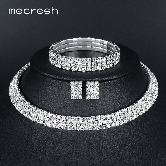 Mecresh Silver Color Circle Crystal Bridal Jewelry Sets African Beads Rhinestone Wedding Necklace Earrings Bracelet Sets