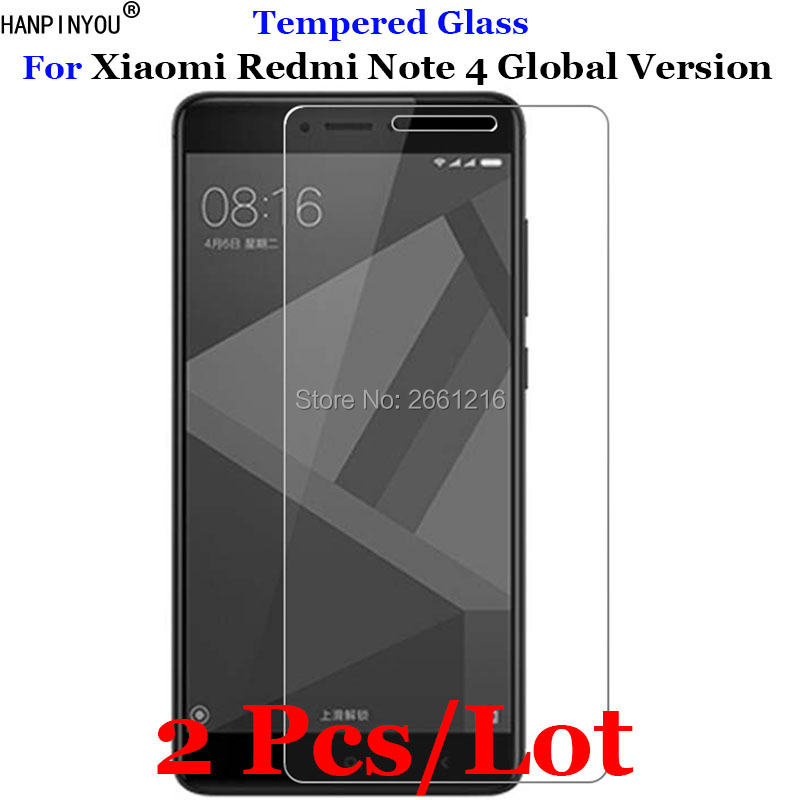 2 Pcs/Lot For Xiaomi Redmi Note4 Tempered Glass 9H 2.5D Premium Screen Protector Film For Xiaomi Redmi Note 4 Global Version