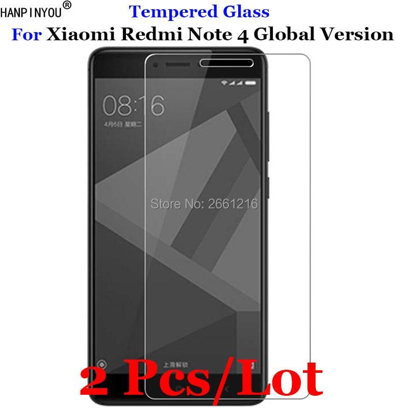 2 Pcs/Lot For Xiaomi Redmi Note4 Tempered Glass 9H 2.5D Premium Screen Protector Film For Xiaomi Redmi Note 4 Global Version