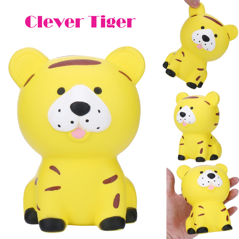 Kawaii Tiger Squishies Slow Rising Doll Soft Squeeze Stress Reliever Toys Adorable Anti Stress Animal Toy For Baby Kids Gift