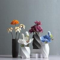 Europe Brief Matt geometry Porcelain Vase Modern Fashion Ceramic Flower Vase Study/living Room Home Wedding Decoration wholesale
