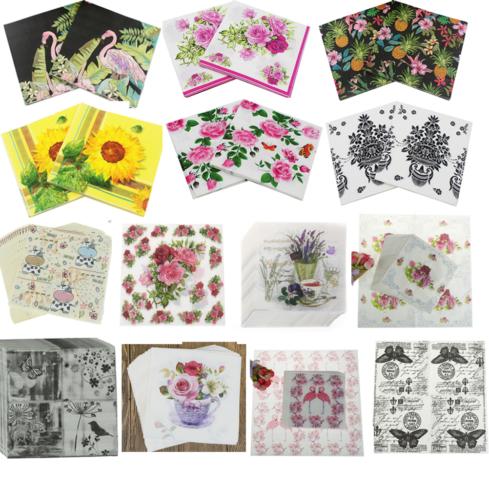 5  x   Paper party Napkins for Decoupage Teddy Rose Napkin Art Or BBQ