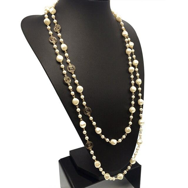 9de16fc89c1f Marca CNANIYA joyería Irregular barroco simulado perla collar largo Mujer Collier  Perle Longue Collar