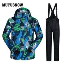 Новый лыжный костюм Мужская ветрозащитная непромокаемая утолщенная одежда Сноубордическая куртка мужская и брюки Бренды пальто и зимние б
