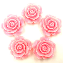 20Pcs Candy Color Pink Resin Flower Fleur Dome Seals Cameos Embellishments Crafts Findings 28x27mm