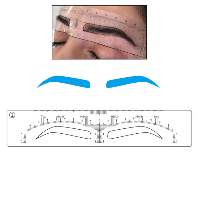 48 pieces Microblading Eyebrow Stencils Stick on Sticker Permanent Makeup Supplies Disposable Eyebrow Mold Drawing Guide 1