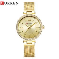 CURREN Для женщин часы Элитный бренд Модные Повседневное дамы золотые часы кварцевые часы Relogio Feminino Reloj Mujer Montre Femme 9011