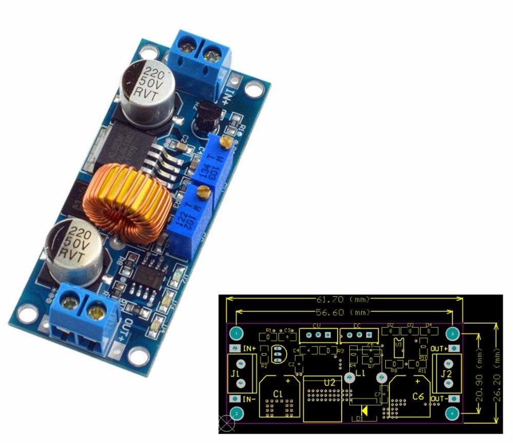 5A Lithium Charger CV CC buck Step down Power Supply Module LED Driver lan  1pcs lm2596 dc dc step down adjustable cc cv power supply module led driver