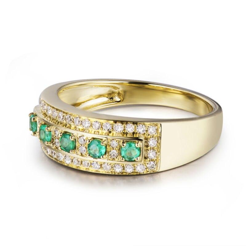 18 Karat Gelbgold Grün Smaragd Ring Natürlicher Diamant Hochzeit - Edlen Schmuck - Foto 3