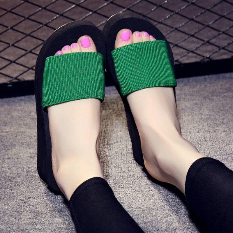2018 Summer Woman Shoes Platform Bath Slippers Wedge Beach Flip Flops High Heel Slippers For Women Brand Black Ladies Shoes