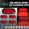 KEYECU 4Pc 6 Red 10LED Oval Truck Trailer Stop Turn Brake Tail Light Sealed Flange Mount