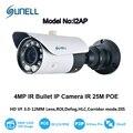 Sunell 4MP Inteligente POE IP Câmera Da Bala De Alta Dual 1 GHz Processo com 3.0-12mm Varifocal lens, solução Ambarella, Livre de Adulteração
