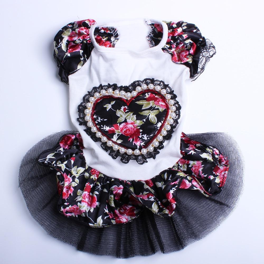 Pasja mačka cvetlična obleka Tutu Love Design krilo za hišne mladičke pomlad / poletje oblačila 3 barve