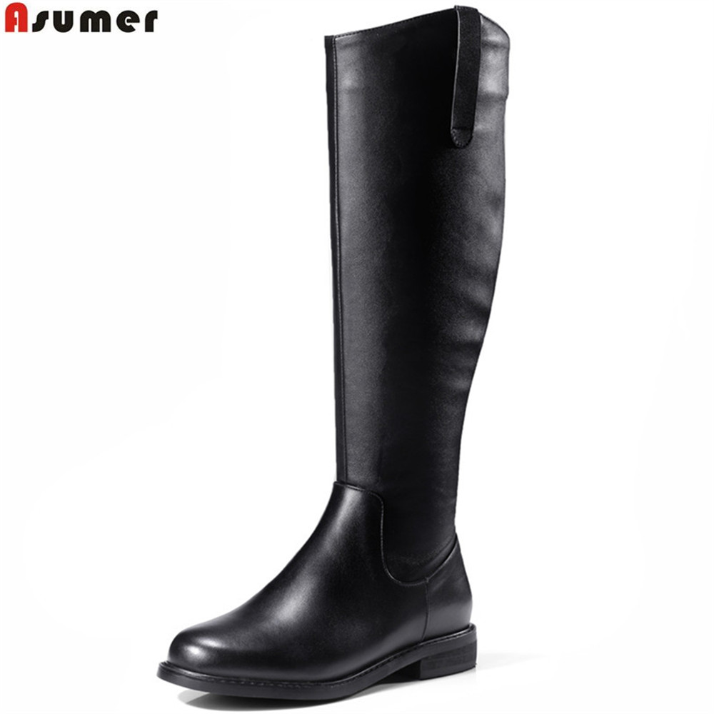 Фотография ASUMER black fashion women boots round toe zipper ladies genuine leather +pu boots low heel square heel knee high boots