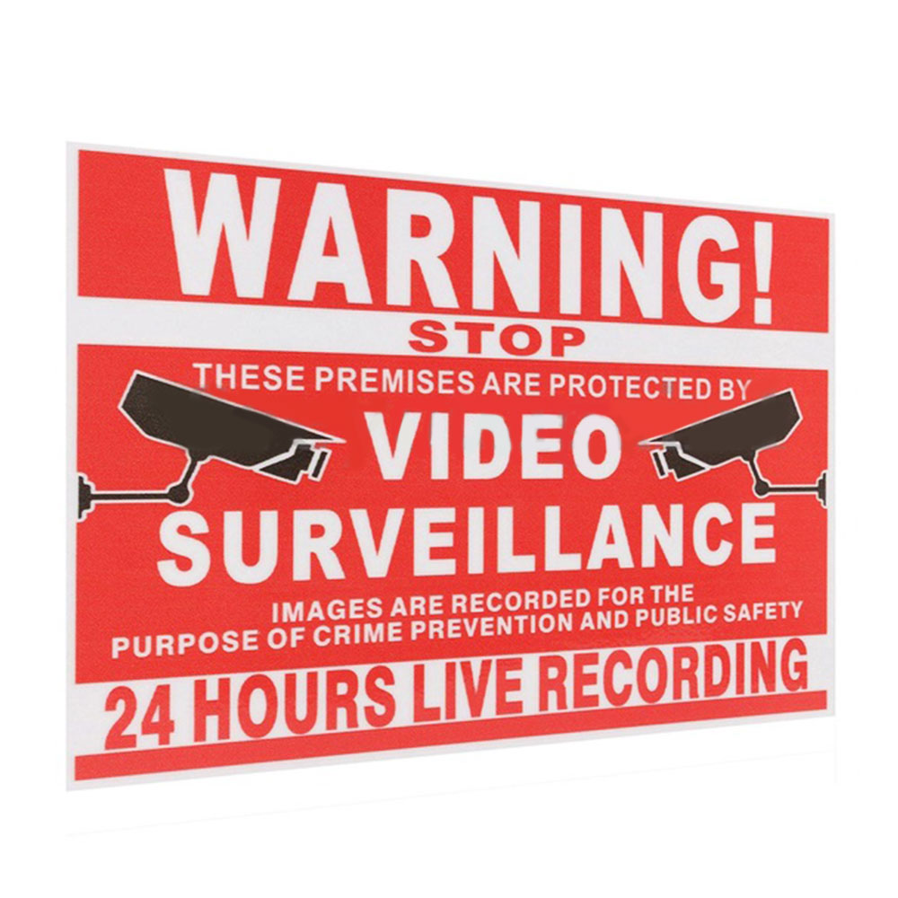 2Pcs Warning Sticker Video Security Decals Workplace Safety Supplies Warning Sign 13x10cm Video Surveillance Security Sticker safurance no soliciting no exceptions front door security sign waterproof 11 x7 28x18cm workplace safety