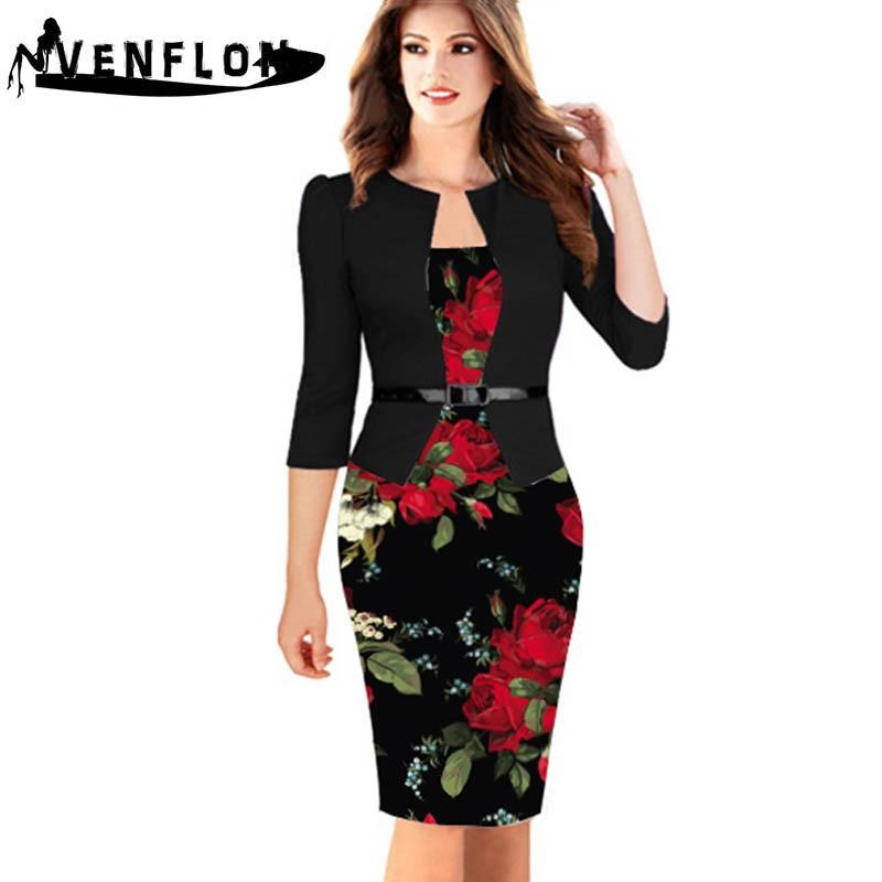 VENFLON Women Summer Dress 2019 Plus Size Sexy Slim Office Pencil Bodycon Dress Female Casual Plus Size Party Dresses 5XL