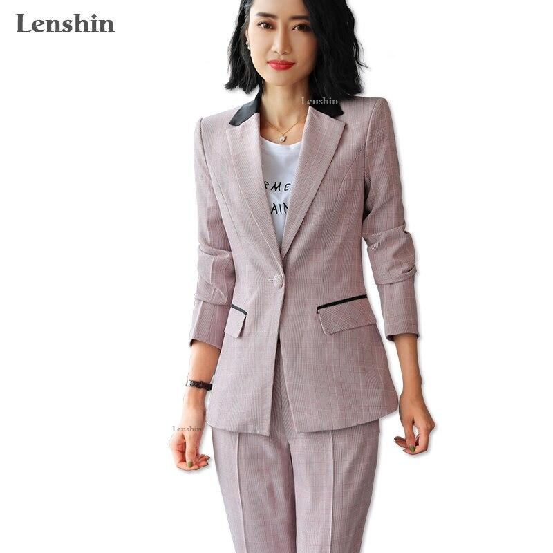 Lenshin Contrast Collar 2 Pieces set Plaid Formal Pant Suit Office Lady Uniform Designs for Women