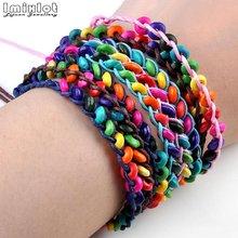 Imixlot, 20 шт./лот, цветные деревянные браслеты, детский плетеный браслет из бисера, подарок на день рождения, ювелирные изделия