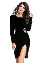 Cute Vintage Sexy women's clothing Cocktail Autumn winter Party Knee-Length Backless Black Long Sleeve Velvet Midi Dress 60692