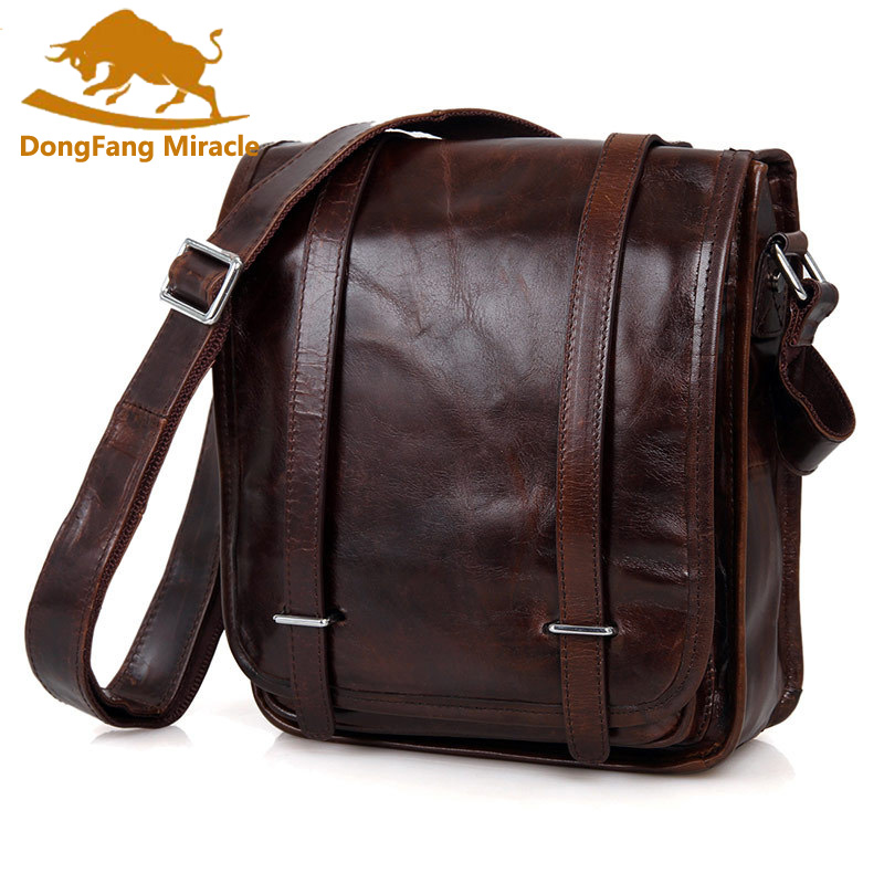 100% Genuine Leather men bags Ipad cowhide leather bags men's casual vintage Messenger bag Shoulder Bag small