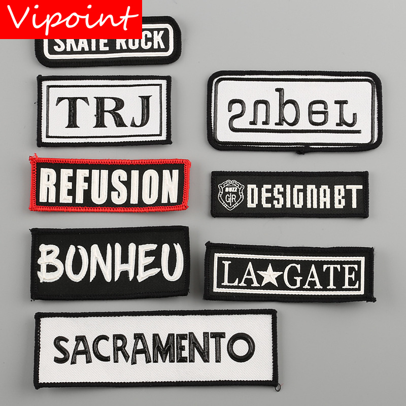 VIPOINT embroidery printed warning patches letter alphabet badges applique for clothing YM-22