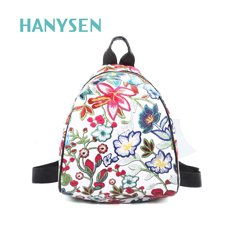 2017 Summer Female Flower Printed Mini Backpack Leather Floral Printing Leisure Backpacks Girl High Quality Small