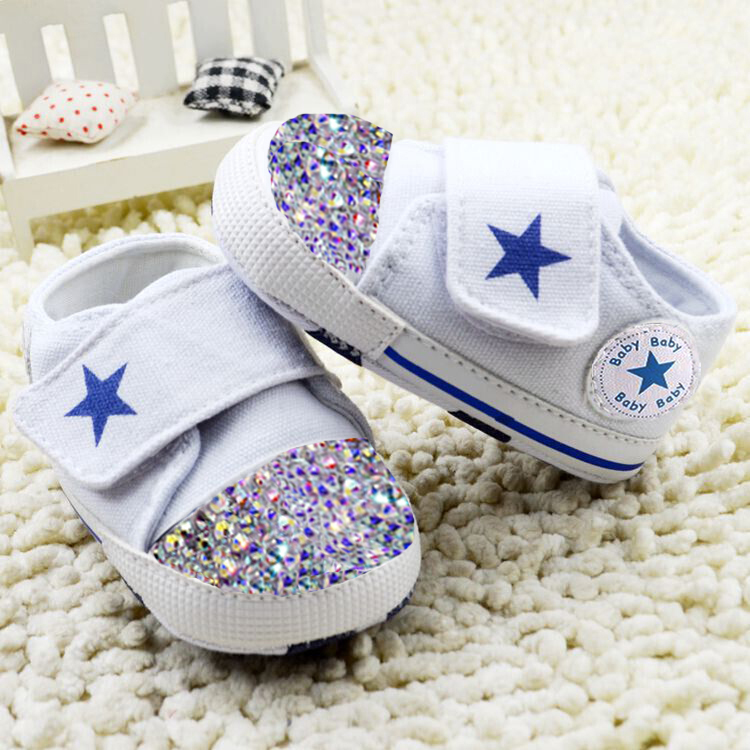 rhinestone baby Shoes handmade AB Crystal toddler bling bling shoes hook & loop kids fashion baby girls boys shoes