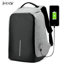 Mode Leinwand Männer Rucksack Anti Theft Mit Usb Lade Laptop Business Unisex Rucksack Schulter Wasserdichte Frauen Reisetasche