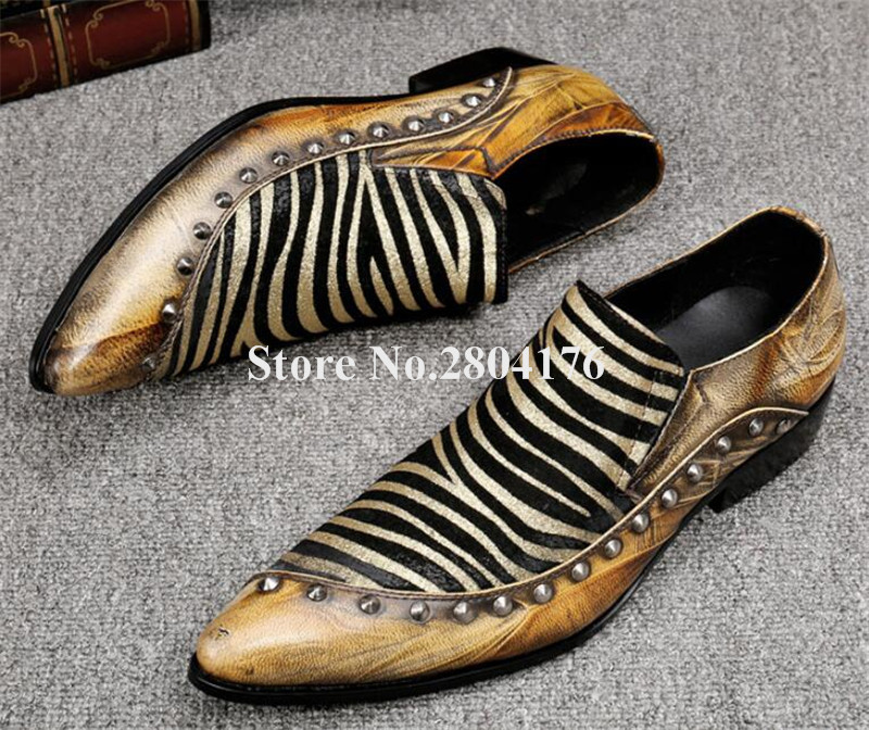 Brand Design Men Fashion Pointed Toe Gold Printed Flat Leisure Leather Rivet Shoes Men Formal Business Dress Shoes ornate printed pocket design dress