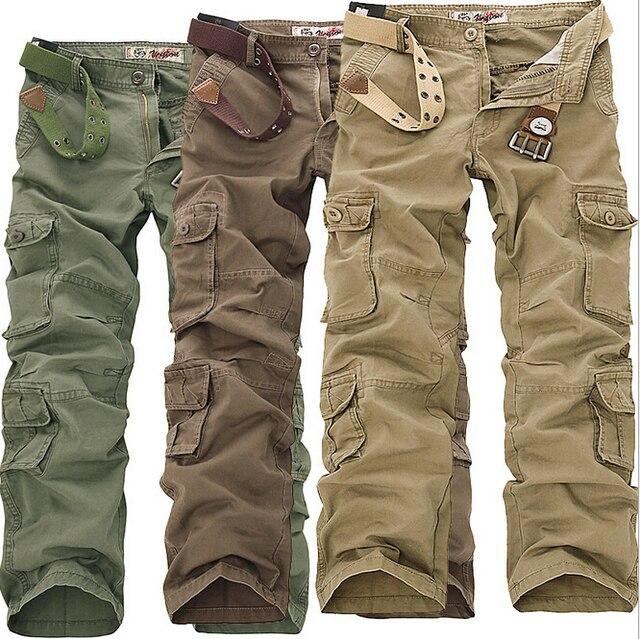 2016 de newmen muchachos urban camo pantalones tallas grandes hombres pantalones jogger cargo holgados camo pantalones causales de color caqui pantalones rectos pants3XL