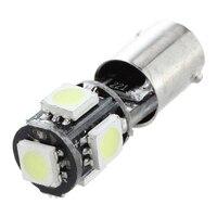 smd 5050 2x Bulb 5 LED 5050 SMD BA9S H6W T4W White Anti ODB Error code lamp (4)