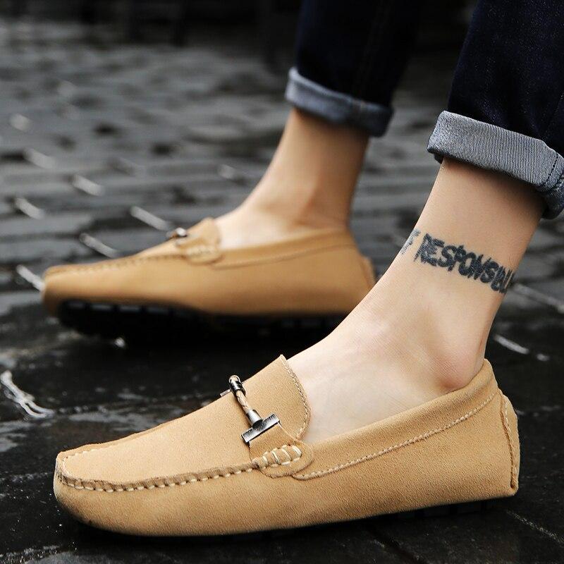 Весенняя новая кожаная мужская обувь в горошек мужская кожаная обувь с мягкой подошвой и ручной строчкой кожаная мужская обувь для вождения - 2
