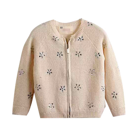 Nueva Moda Niños Otoño Ropa Gem Embellecido Flor Capa Que Hace Punto de Manga Larga chaqueta de Punto En Algodón