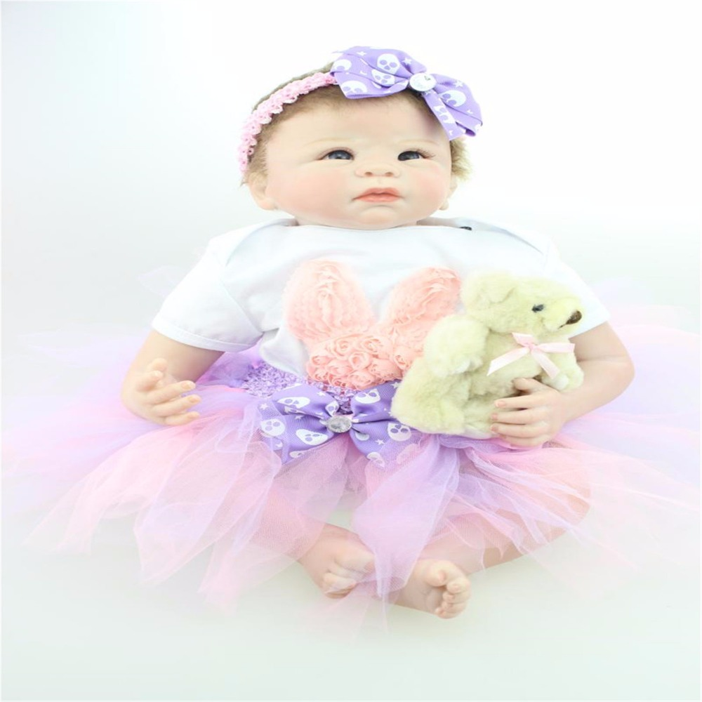 22 inch 55cm baby reborn Silicone  dolls, lifelike doll reborn babies  for  Children's toys Lovely beautiful princess dress doll коляска трость peg perego si completo blue denim