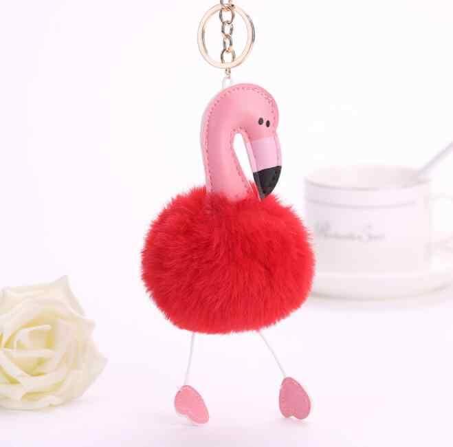 Alta Qualidade Flamingo Chaveiro Flamingo Bonito Brinquedo de Pelúcia Chaveiro Pingente Mulheres Fofo Pom Pom Pele Saco Chaveiro Pendurar brinquedos de Pelúcia brinquedo