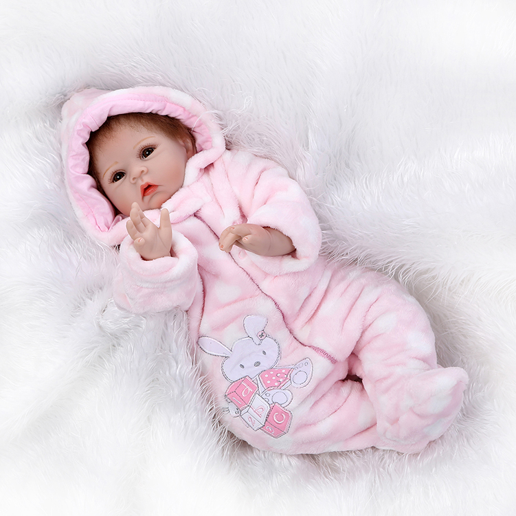 55cm Reborn Doll Silicone Reborn Handmade Realistic Baby Girls Dolls 22 Inch Vinyl Bebe  ...