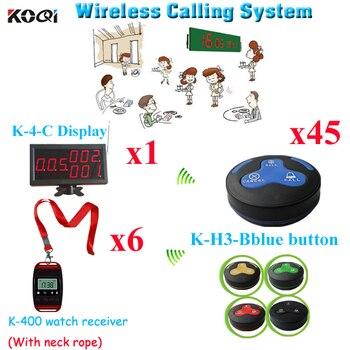 Pager Waiter Call System User friendly Restaurant Wireless Calling Equipment(1pcs display & 6pcs watch & 45pcs call butt