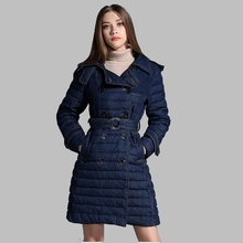 2017 New Winter Women coat Denim Down Jacket High quality Casual Down Jacket Fashion Slim Medium long Women Coat jacket AB181