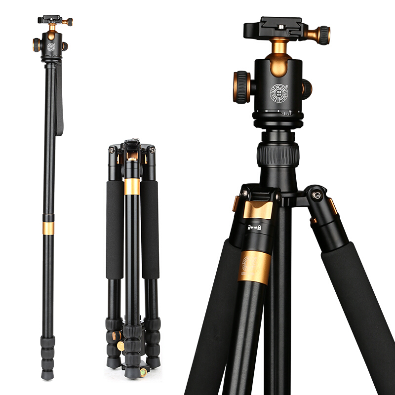все цены на QZSD Q1088 Professional DSLR Camera stand Aluminum Alloy Tripod 15kg Load with Ball Head Monopod Tripe Para Camera Accessories онлайн