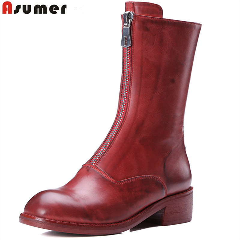 Asumer 2018 hot sale new arrive women boots fashion zipper square toe genuine leather autumn winter mid calf boots classic 2018 new arrival fashion winter shoe genuine leather pointed toe high heel handmade party runway zipper women mid calf boots l11