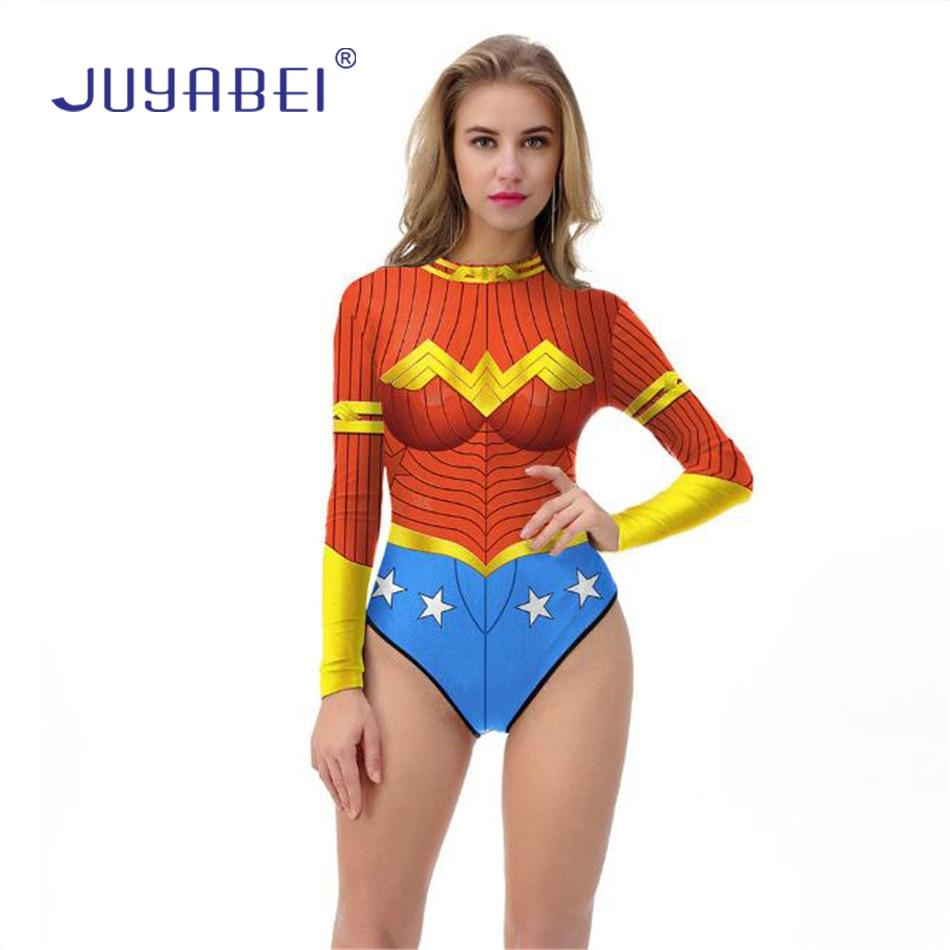 JUYABEI One-piece Halloween Comic Wonder Woman Cartoon Heroine Cosplay Swimsuit Beach Wear Swimwear Long Sleeve Bathing Suit