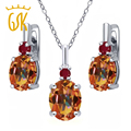 GemStoneKing 925 Sterling Silver Jewelry Set For Women 7.02 Ct Natural Ecstasy Mystic Topaz Red Ruby Pendant Earrings Set