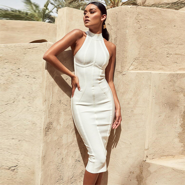 2018 Elegant Midi White Bandage Dress High Quality Women New Fashion  Sleeveless Bodycon Wedding Party Dress Vestidos Wholesale 4ea9bddb8959