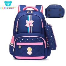 SUN EIGHT Orthopedic Girl School Backpack School bags Backpacks Kids Bags School Bag School Bags for Boys mochila escolar cheap Zipper Nylon Girls 16cm Patchwork 31cm 0 8kg Polyester 2587 39cm
