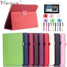 PU Funda de piel Cubierta Del Soporte Para Samsung Galaxy Tab 4 10.1 Pulgadas SM-T530 Tablet con Película y Pluma Carrete Tavoletta Tableta Tablet